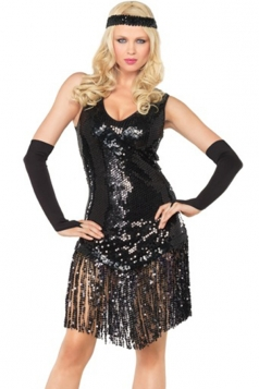 Black Sexy Gatsby Halloween Girls Flapper Dance Costume