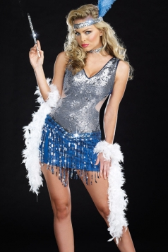 Silvery Womens Sexy Fancy Flapper Dance Halloween Dress Costume