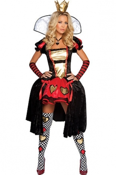 Black Sexy Queen Of Hearts Alice in Wonderland Halloween Costume