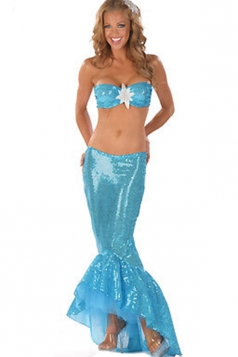 Blue Cute Womens Mermaid Halloween Fancy Costume