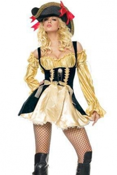 Sexy Gold Womens Strap Vixen Halloween Pirate Costume