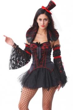 Sexy Womens Halloween Black Devil Midnight Mistress Vampire Costume