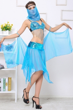 Blue Sexy Ladies Flapper Indian Belly Dance Folk Costume