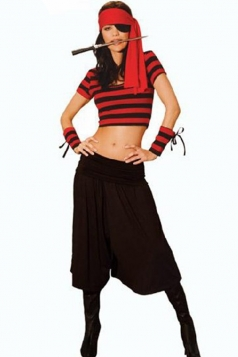 Black Modern Womens Halloween Striped Mistress Pirate Costume