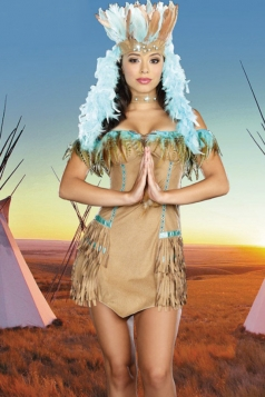 Khaki Sexy Ladies Matriarch Indian Halloween Folk Costume