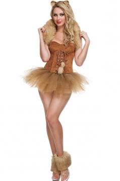 Khaki Pretty Womens Sexy Wizard of Oz Halloween Cat Costume