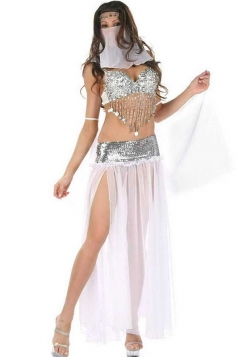 White Paillette Belly Dance Indian Ladies Halloween Folk Costume