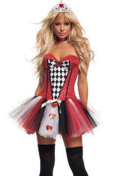 Black Ladies Halloween Strapless Fancy Evil Queen Costume