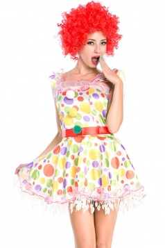White Cute Womens Polka Dot Circus Halloween Clown Costume