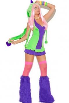 Purple Womens Furry Dinosaur Hood Halloween Monster Costume