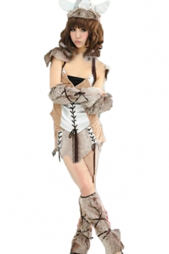 Khaki Cool Ladies Monster Furry Savage Halloween Costume