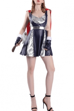 Womens Adult Marvel Sassy Thor Halloween Costume Blue