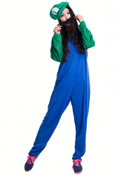 Green and Blue Cute Womens Halloween Super Marie Cartoon Costume
