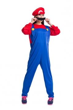 Red and Blue Cute Womens Halloween Super Marie Cartoon Costume
