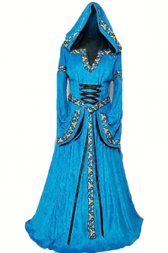 Blue Womens Medieval Queen Dress Renaissance Halloween Costume