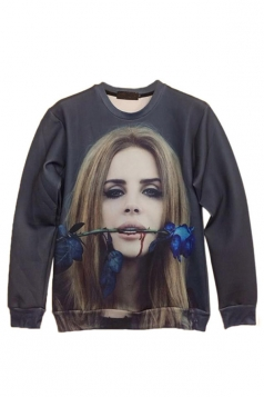 Black Chic Girls Blue Enchantress Printed Pullover Sweatshirt