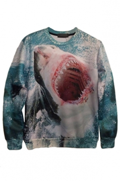 Blue Womens Crew Neck Jumper Craze Shark Printed Sweatshirt