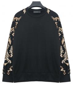 Black Cool Womens Scale Pattern Sequin Pullover Plain Sweatshirt