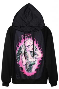 Black Womens Pullover Uncanny Angel Printed Halloween Hoodie