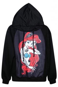 Black Cute Cartoon Mermaid Printed Pullover Halloween Hoodie