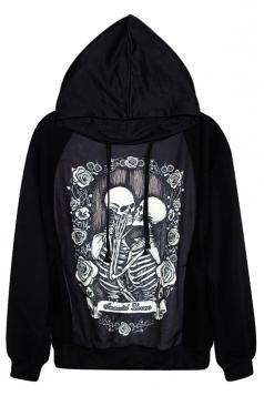 Black Skeleton Lovers Printed Halloween Pullover Hoodie