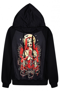 Black Chick Womens Witch Printed Pullover Hoodie