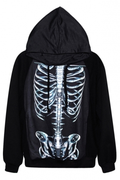 Black Cool Womens Skeleton Printed Pullover Hoodie