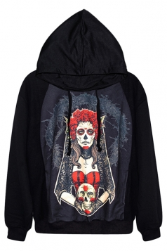 Black Stylish Womens Skeleton Witch Printed Jumper Hoodie