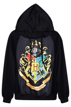 Black Sexy Womens Harry Porter Printed Pullover Hoodie