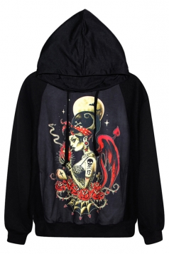 Black Chic Womens Evil Lady Printed Pullover Hoodie
