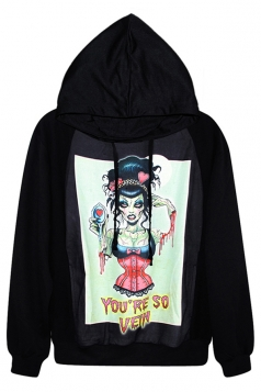 Black Fashion Ladies Witch Printed Pullover Hoodie