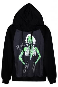 Black Sexy Womens Zombie Marilyn Monroe Printed Pullover Hoodie