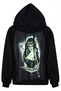 Black Chic Womens Long Hair Witch Printed Jumper Hoodie