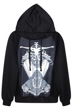 Black Chic Ladies Skeleton Printed Crew Neck Jumper Hoodie