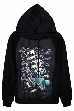 Black Sexy Womens Boat Octopus Printed Pullover Hoodie