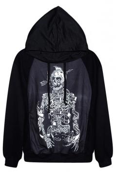 Black Sexy Womens Skeleton Printed Pullover Hoodie
