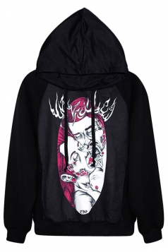 Black Cool Womens Zombie Couple Printed Pullover Hoodie