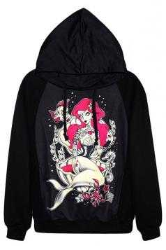 Black Pretty Ladies Witch Mermaid Printed Pullover Hoodie