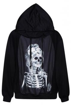 Black Cool Womens Beauty Skeleton Printed Jumper Hoodie