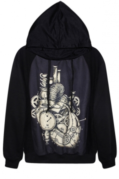 Black Chic Womens Mechanical Watch Printed Pullover Hoodie