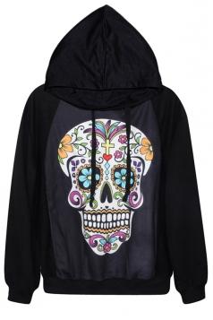 Black Sexy Ladies Colorful Skull Printed Jumper Hoodie