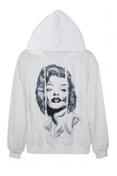White Pretty Womens Marilyn Monroe Printed Pullover Hoodie