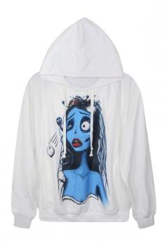 White Chic Ladies Zombie Bride Printed Pullover Hoodie