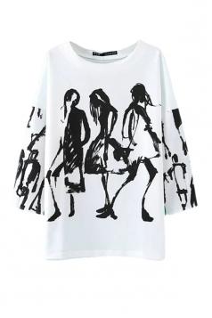 White Pretty Ladies Ink Printed Crew Neck Pullover Plus Size Top