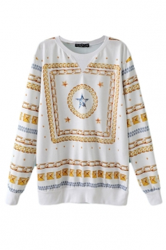 White Simple Womens Stripe Star Printed Pullover Plus Size Top