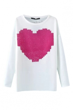 White Pretty Womens Heart Printed Pullover Plus Size Top
