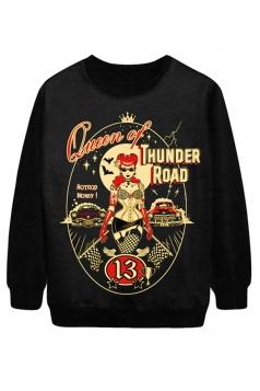 Black Sexy Ladies Queen Of Thunder Road Printed Halloween Sweatshirt