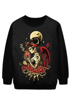 Black Cool Ladies Smoke Beauty Printed Jumper Halloween Sweatshirt
