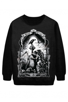 Black Sexy Ladies Rest In Pieces Printed Jumper Halloween Sweatshirt