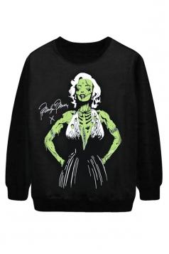 Black Cool Ladies Marilyn Monroe Zombie Printed Halloween Sweatshirt